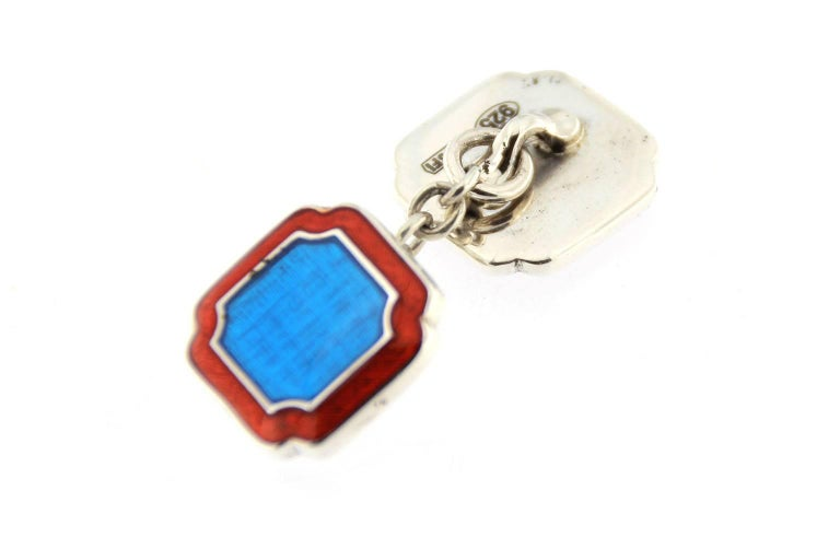Jona Blue and Red Enamel Sterling Silver Cufflinks In New Condition For Sale In Torino, IT