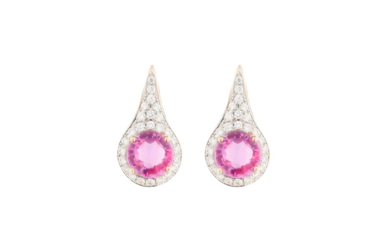 Jona Pink Sapphire Diamond Gold Halo Stud Earrings 3