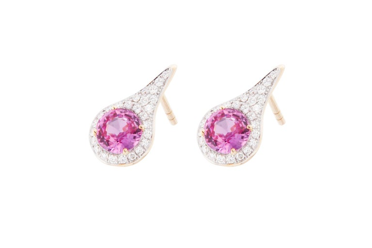 Jona Pink Sapphire White Diamond 18 Karat Yellow Gold Halo Stud Earrings In New Condition For Sale In Torino, IT