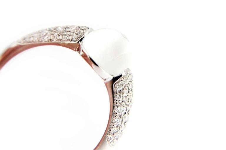 Jona Moonstone White Diamond 18 Karat White Gold Ring In New Condition In Torino, IT