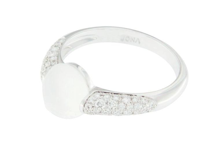 Women's Jona Moonstone White Diamond 18 Karat White Gold Ring