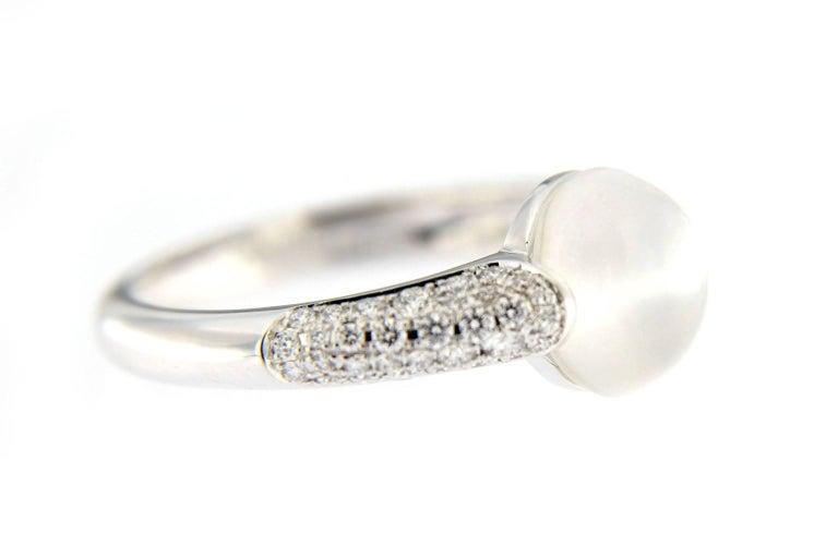 Jona Moonstone White Diamond 18 Karat White Gold Ring 1