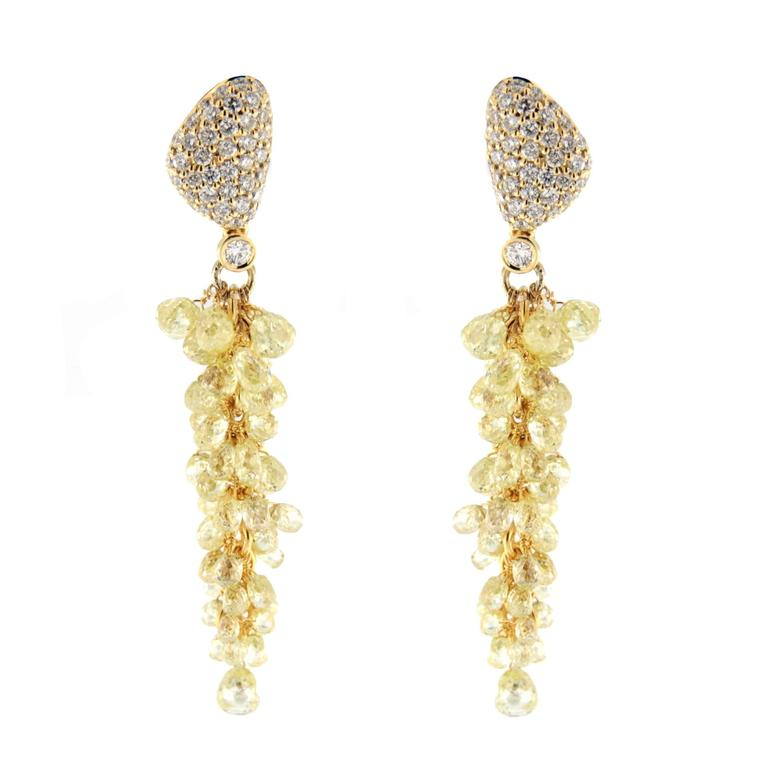 Jona Fancy Yellow Diamond Gold Cluster Earrings 1