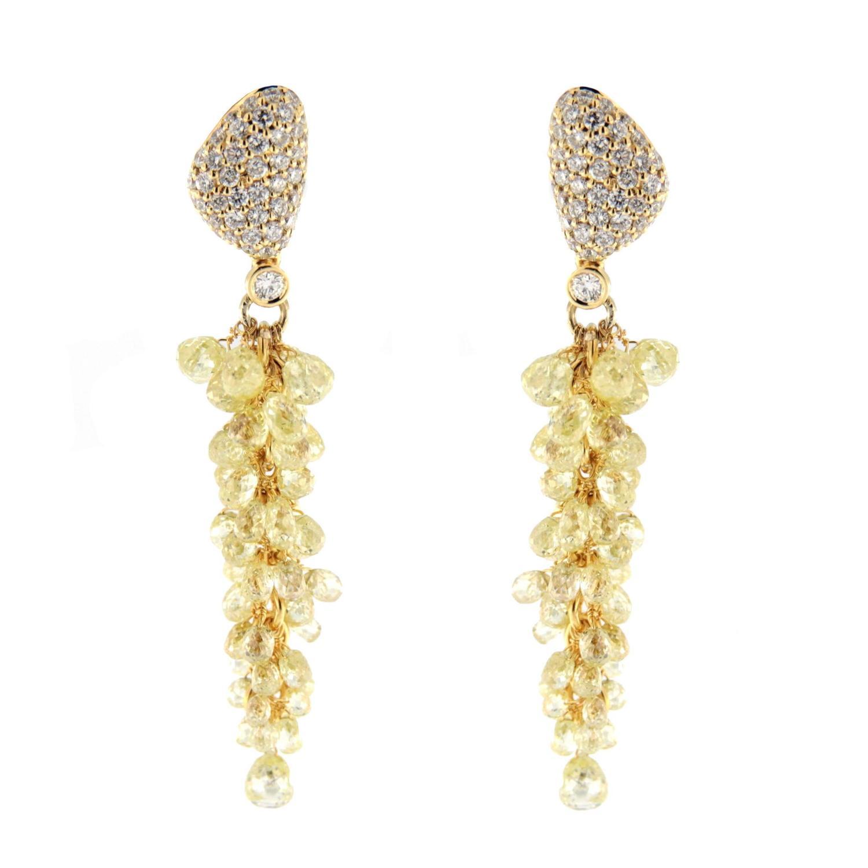 Jona Fancy Yellow Diamond Gold Cluster Earrings For Sale at 1stdibs