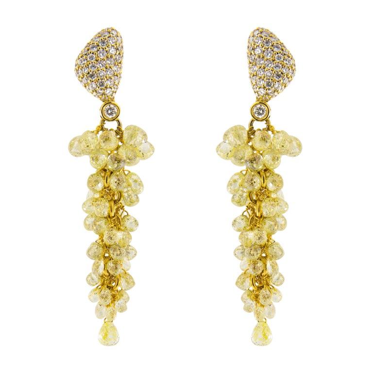 Jona Fancy Yellow Diamond 18k Gold Cluster Earrings