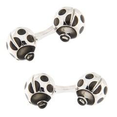 Jona Sterling Silver Black Enamel Ladybug Cufflinks