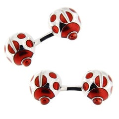 Jona Sterling Silver Red Enamel Ladybug Cufflinks