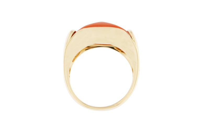 Jona Coral 18 Karat Yellow Gold Band Ring For Sale 1
