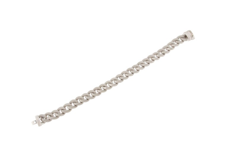 Jona Sterling Silver Curb Link Bracelet In New Condition For Sale In Torino, IT