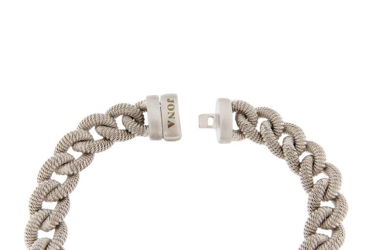 Women's or Men's Jona Sterling Silver Curb Link Bracelet For Sale