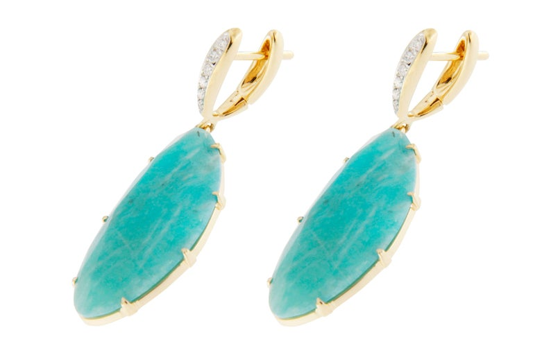 Jona Amazonite White Diamond 18k Yellow Gold Pendant Earrings In New Condition For Sale In Torino, IT