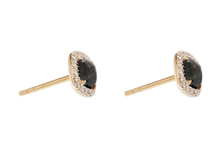 Jona Rose Cut Black Diamond White Diamond 18 Karat Rose Gold Stud Earrings In New Condition For Sale In Torino, IT