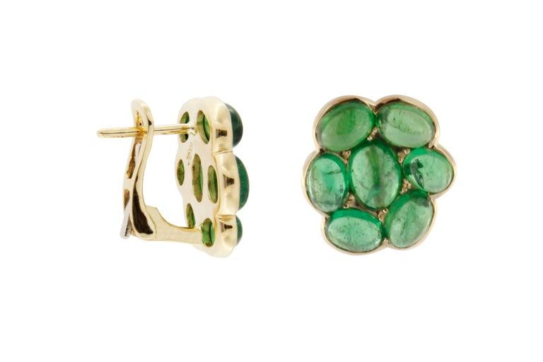 Jona Tsavorite Flower 18 Karat Yellow Gold Stud Clip-On Earrings In New Condition For Sale In Torino, IT