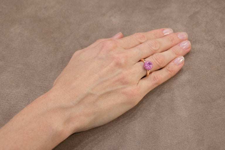 Jona design collection, hand crafted in Italy, 18 Karat rose gold ring, centering a round cut Pink Sapphire weighing 0.80 carats, surrounded by a pink Sapphire Pavé weighing 1.41 carats. Signed Jona.  Ring Size: US 6 /EU 12 (can be sized to any