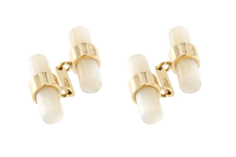Mixed Cut Jona 18k Yellow Gold Mother-of-Pearl Bar Cufflinks For Sale