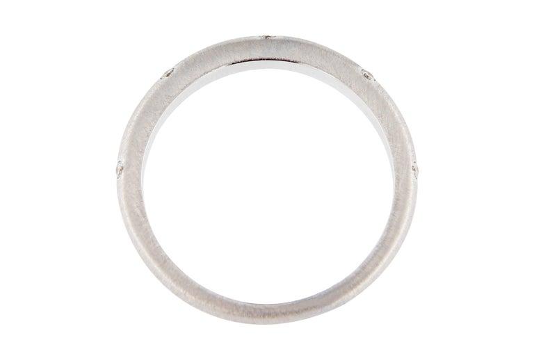 Women's Jona White Diamond 18 Karat Brushed White Gold Band Ring For Sale