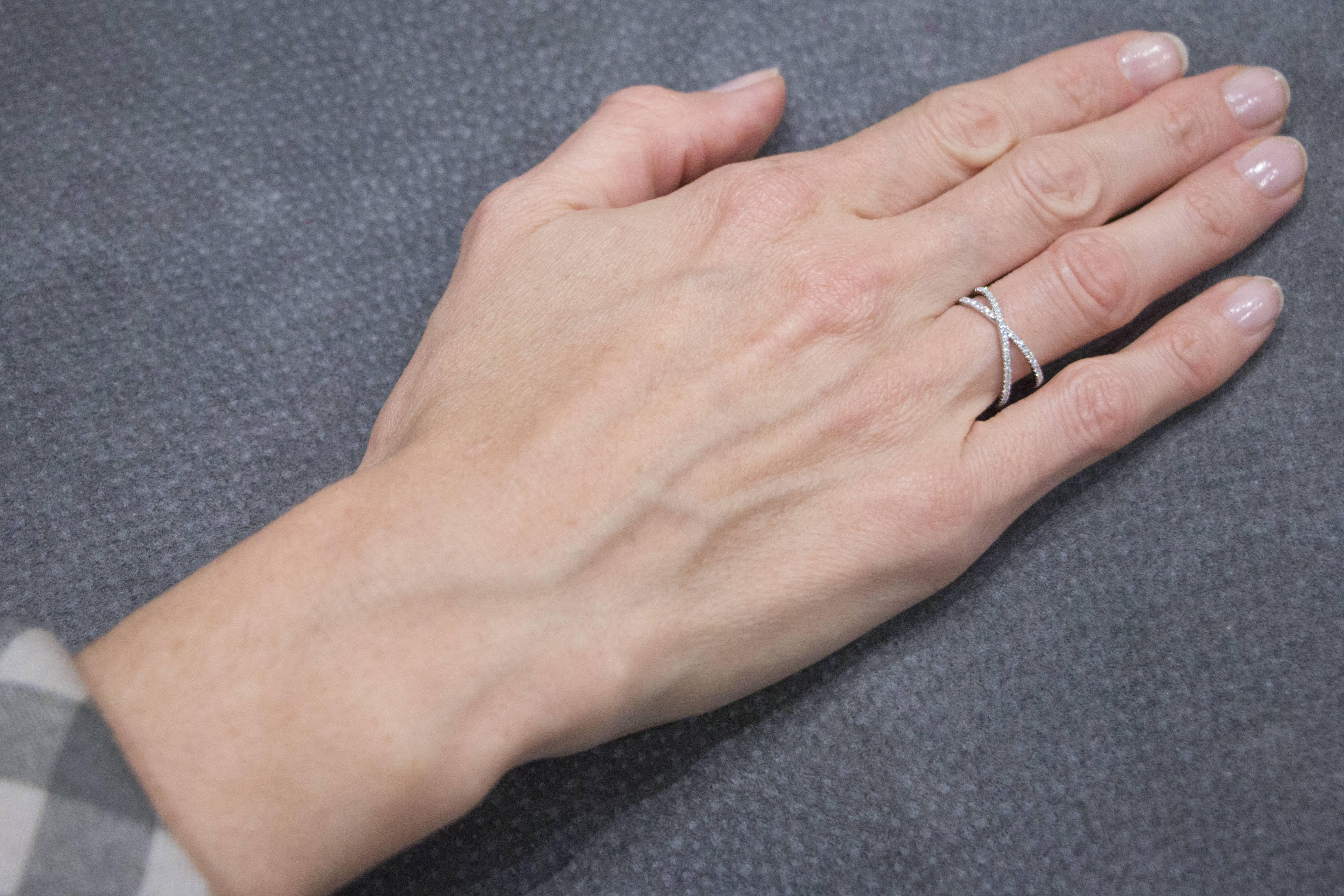 Jona White Diamond 18 Karat White Gold Crossover Ring For Sale at ...
