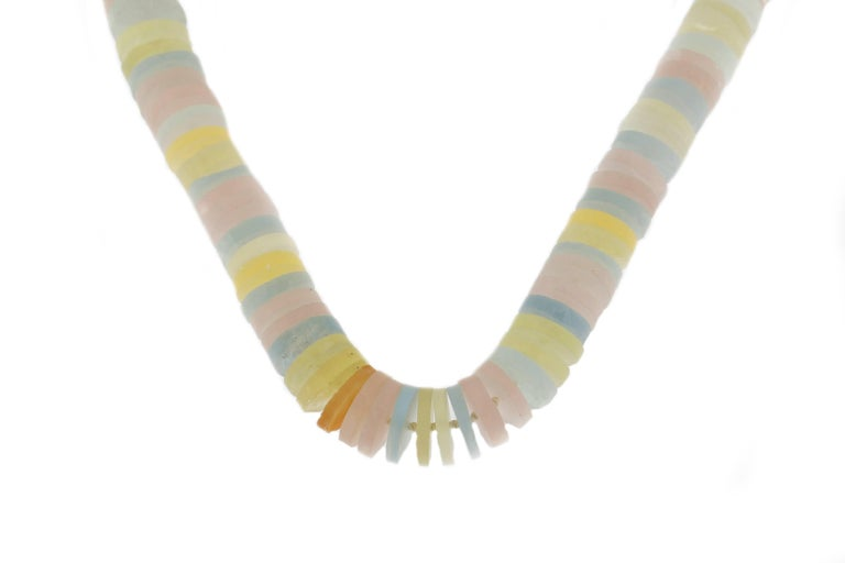 Jona design collection, hand crafted in Italy, aquamarine, tourmaline, rose quartz, citrine quartz rondelle necklace with a satin finish sterling silver clasp.  Necklace dimensions: 0.57 in W / 26 in L 14.5 mm W / 660 mm L  Clasp dimension: 18 mm