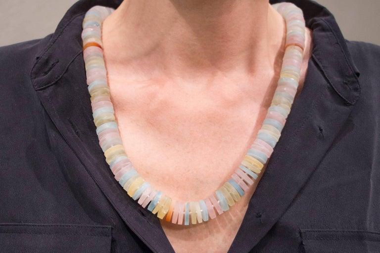 Jona Aquamarine Tourmaline Quartz Rondelle Necklace In New Condition For Sale In Torino, IT