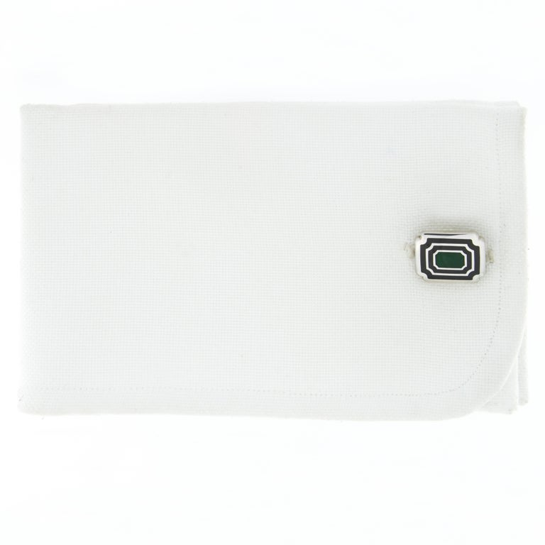 Jona design collection, hand crafted in Italy, rhodium plated Sterling Silver rectangular cufflinks with blue and green enamel. Toggle back. Dimensions: 0.58 in. W x 0.52 in. L - 15 mm. W x 13 mm. L All Jona jewelry is new and has never been