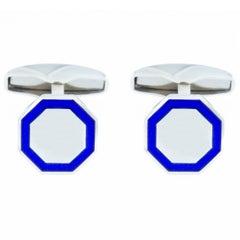 Jona Sterling Silver Blue Enamel Octagonal Cufflinks