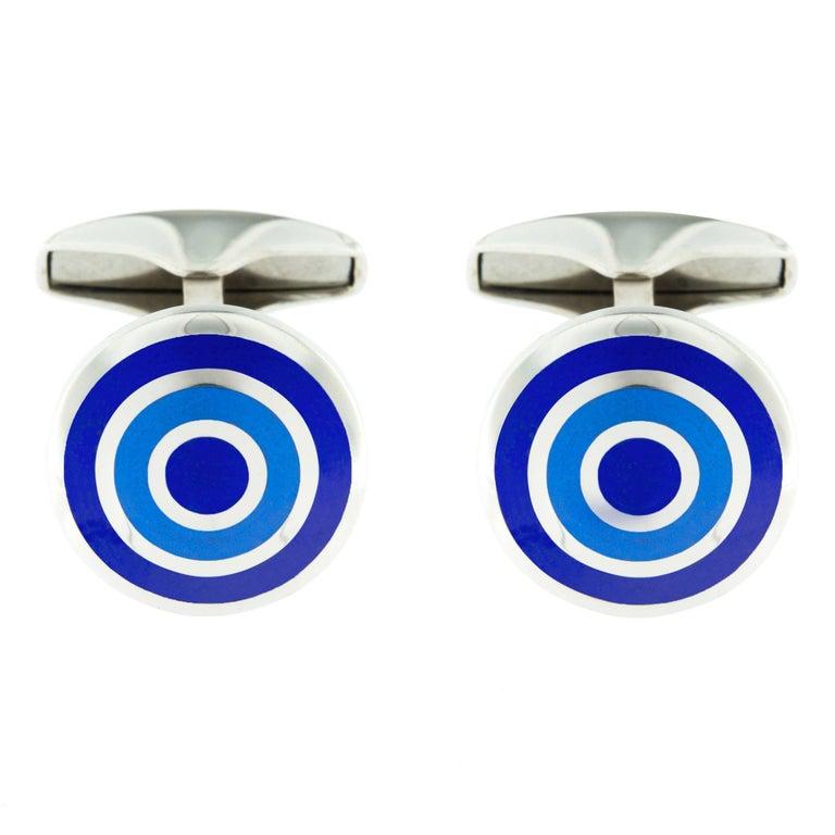 Jona Sterling Silver Blue Enamel Cufflinks For Sale