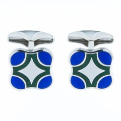 Jona Sterling Silver Blue Green Enamel Cufflinks
