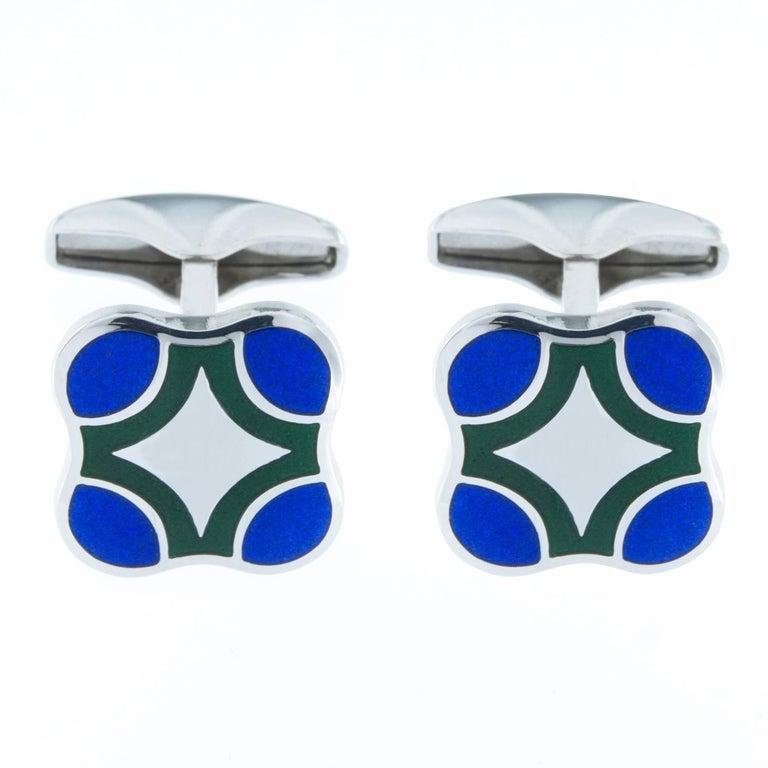 Jona Sterling Silver Blue Green Enamel Cufflinks