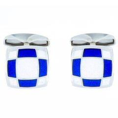 Jona Sterling Silver Blue and White Enamel Cufflinks