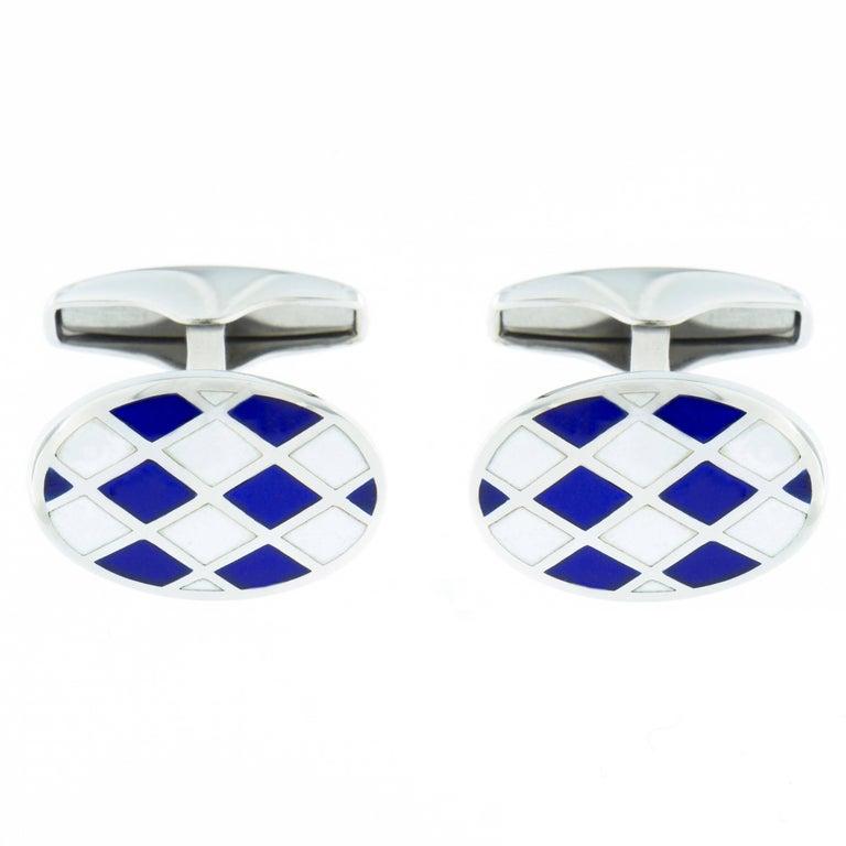 Jona Sterling Silver Blue White Enamel Cufflinks