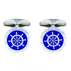 Jona Sterling Silver Blue Enamel Boat Wheel Cufflinks