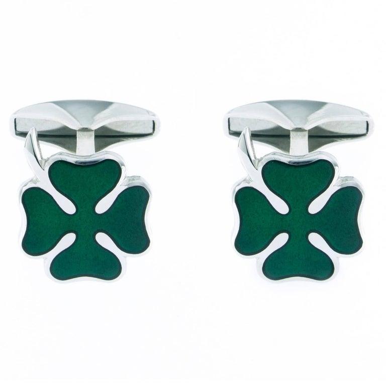 Jona Sterling Silver Green Enamel Lucky Clover Cufflinks