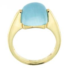 Jona Aquamarine 18 Karat Yellow Gold Solitaire Cocktail Ring