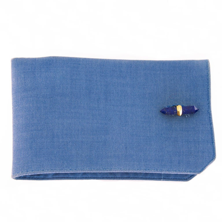 Jona Lapis Lazuli Chalcedony 18 Karat Yellow Gold Prism Bar Cufflinks In New Condition For Sale In Torino, IT