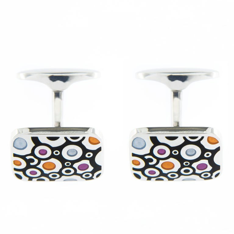 Jona Sterling Silver Enamel Cufflinks In New Condition For Sale In Torino, IT