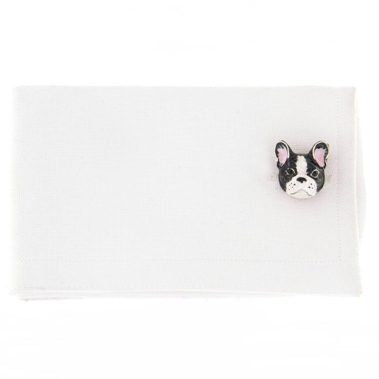 Jona Sterling Silver Enamel Dog Cufflinks In New Condition For Sale In Torino, IT
