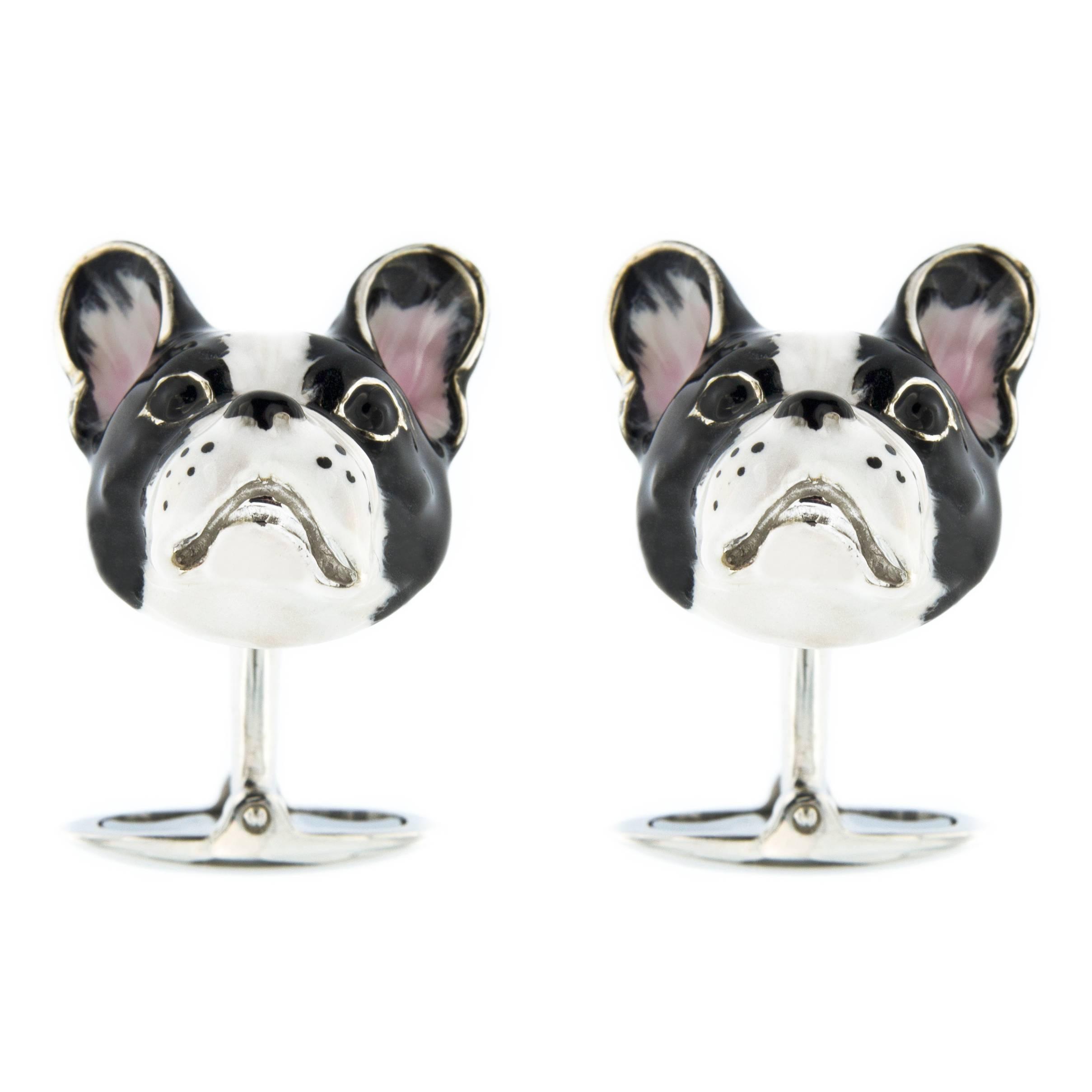 Jona Sterling Silver Enamel Dog Cufflinks