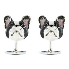 Jona Sterling Silver Enamel Dog Cufflinks