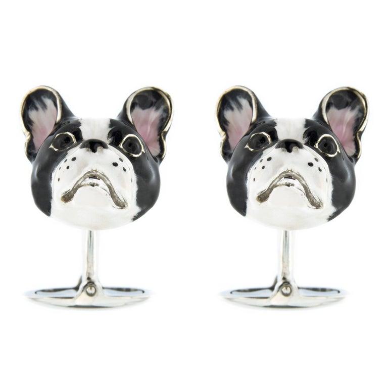 Jona Sterling Silver Enamel Dog Cufflinks For Sale