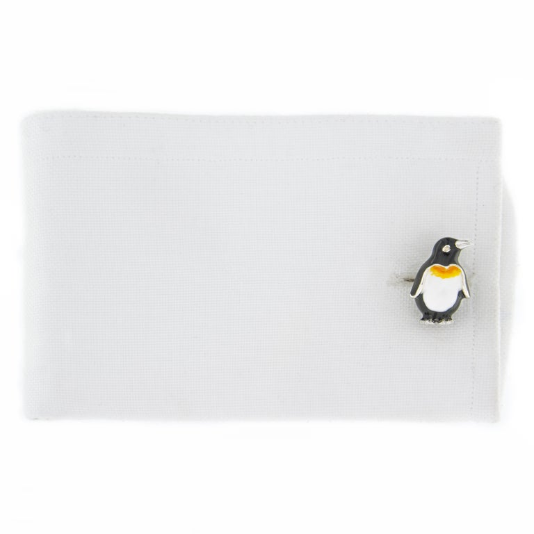 Jona design collection, hand crafted in Italy, rhodium plated Sterling Silver penguin cufflinks with enamel.    DIMENSIONS:  0.52 in W x 0.85 in L   13,40 mm W x 21.5 mm L  All Jona jewelry is new and has never been previously owned or worn. Each
