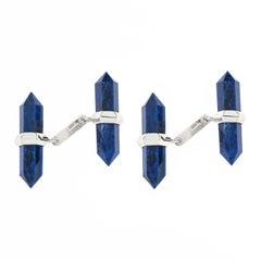 Jona 18 Karat White Gold Lapis Lazuli Prism Bar Cufflinks