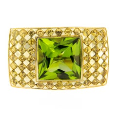 Jona Peridot Yellow Sapphire Gold Ring Band