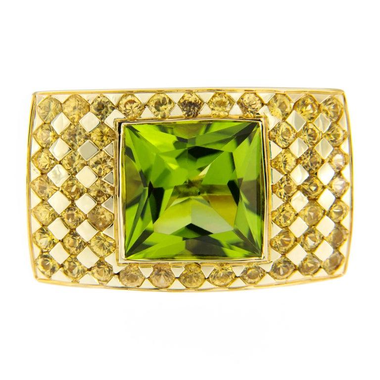 Jona Peridot 18k Yellow Sapphire Gold Ring Band
