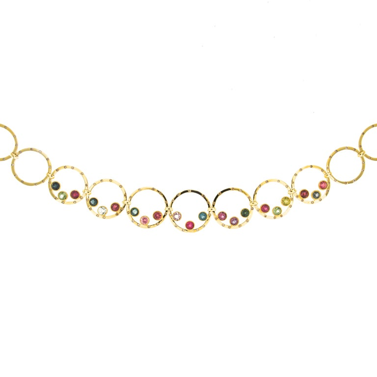 Jona Tourmaline Diamond Yellow Gold Link Necklace 2