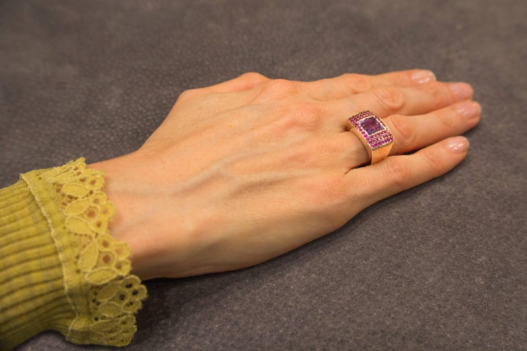 Jona Amethyst Pink Sapphire 18 karat Rose Gold Ring Band In New Condition For Sale In Torino, IT