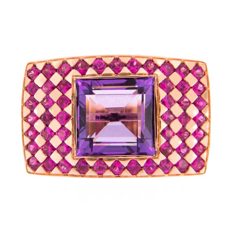 Jona Amethyst Pink Sapphire 18 karat Rose Gold Ring Band For Sale