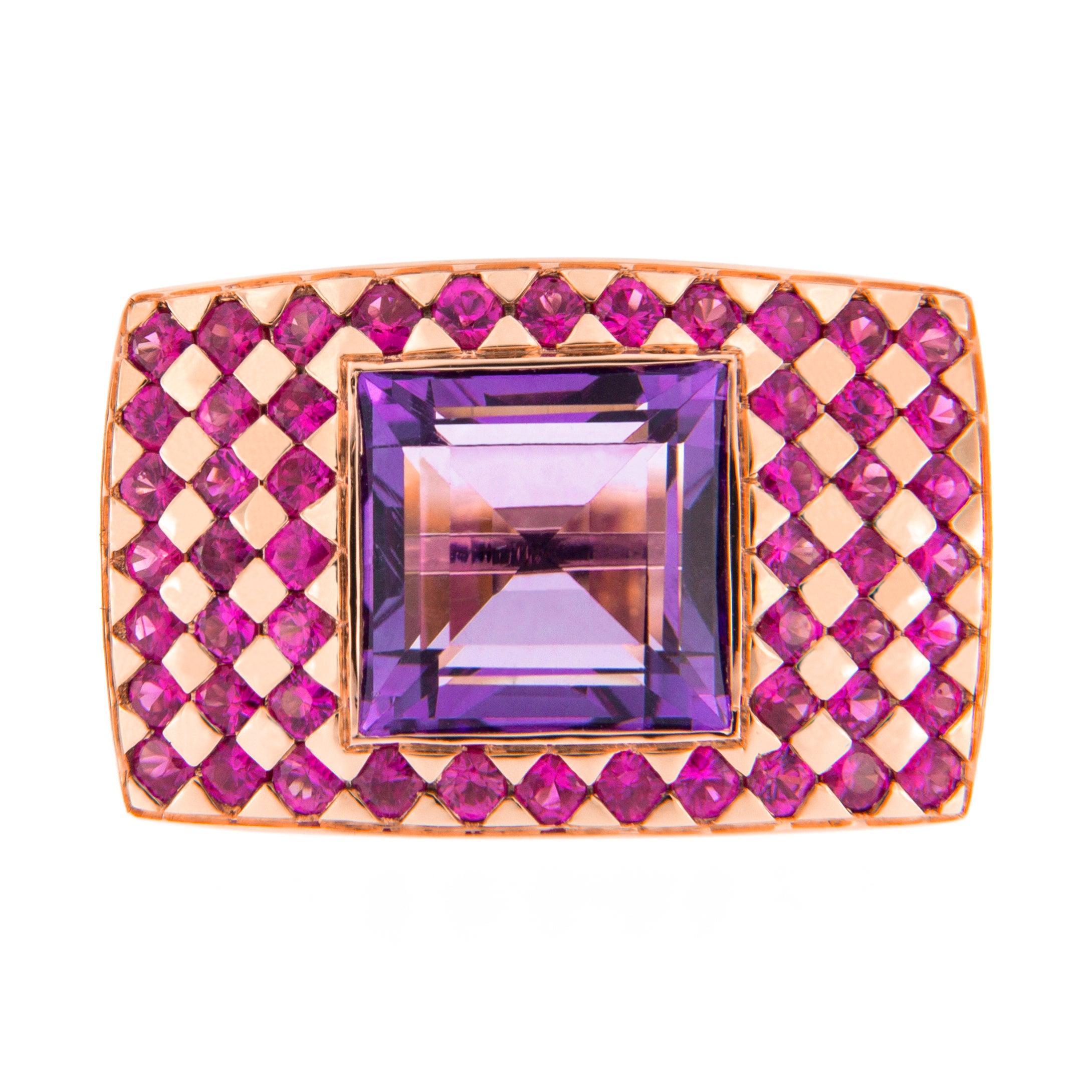 Georgios Collections 18 Karat White Gold Greek Key Sapphire Ruby ...