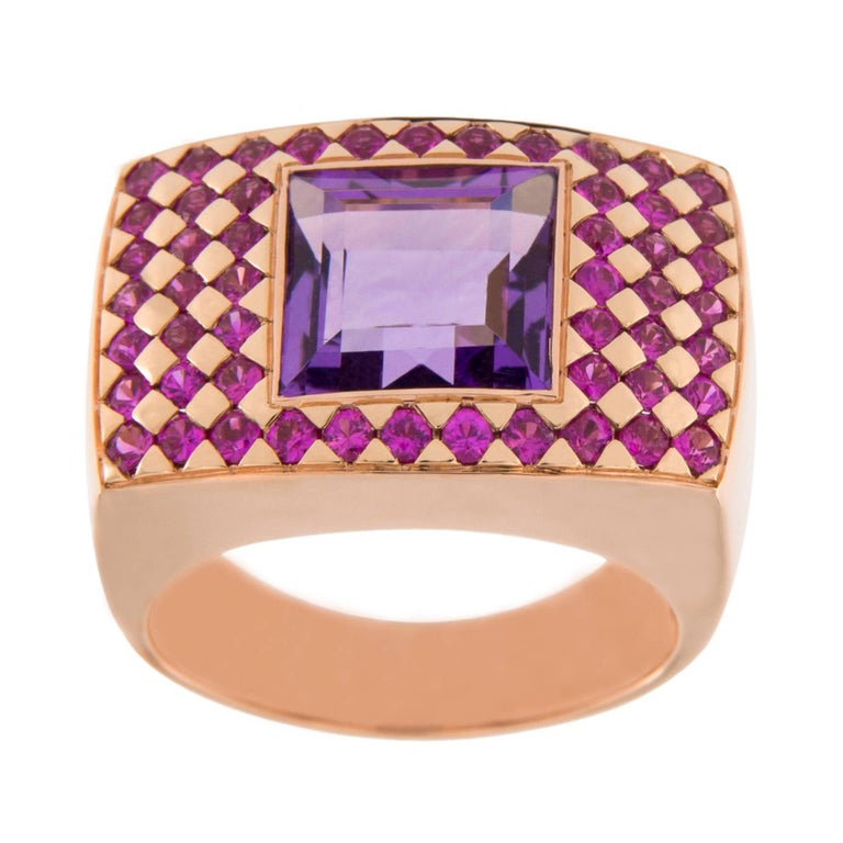 Jona Amethyst Pink Sapphire 18 karat Rose Gold Ring Band For Sale 2