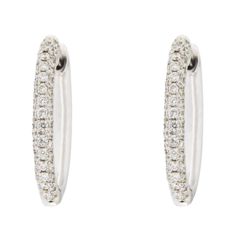 Jona White Diamond 18 Karat White Gold Hoop Earrings For Sale