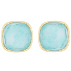 Jona Turquoise Quartz Mother of Pearl 18 Karat Yellow Gold Stud Earrings